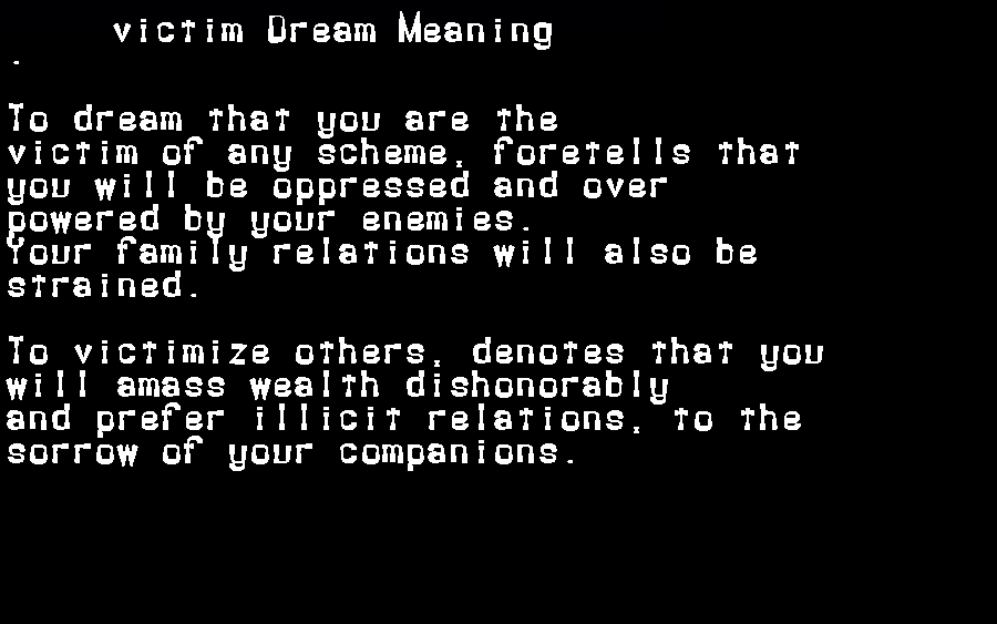 dream meanings victim