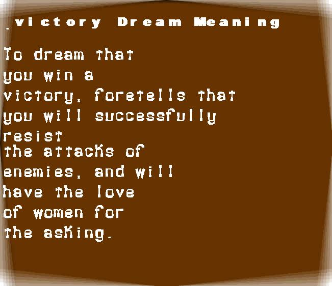 dream meanings victory