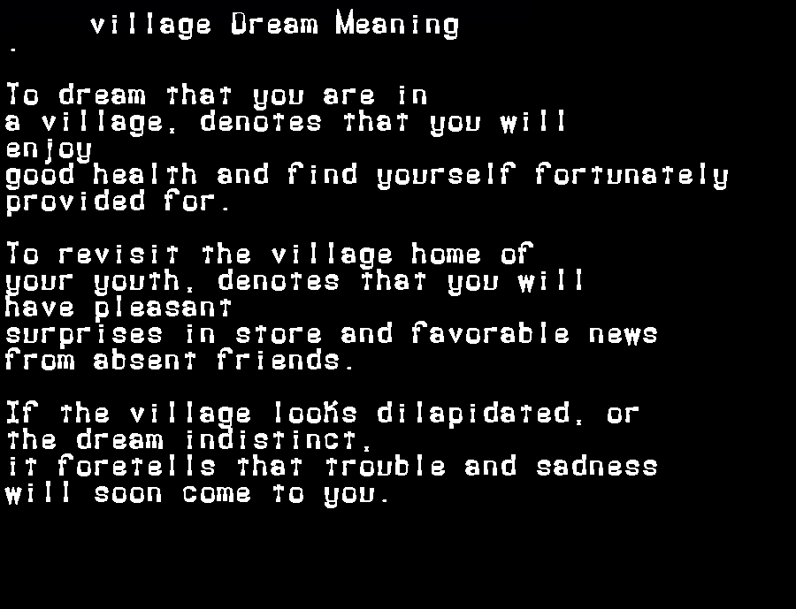 dream meanings village