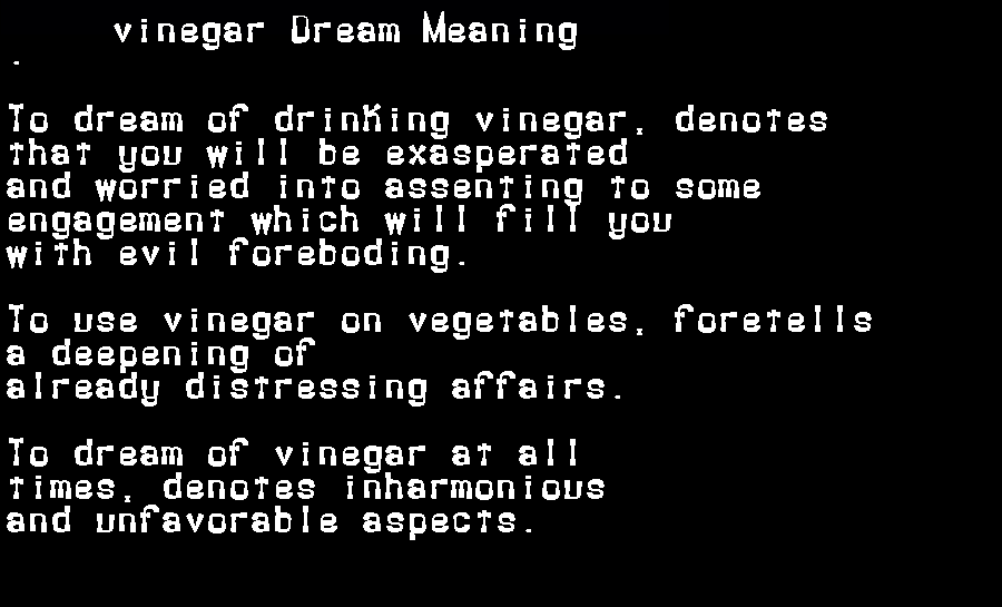 dream meanings vinegar