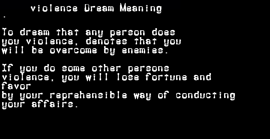 dream meanings violence