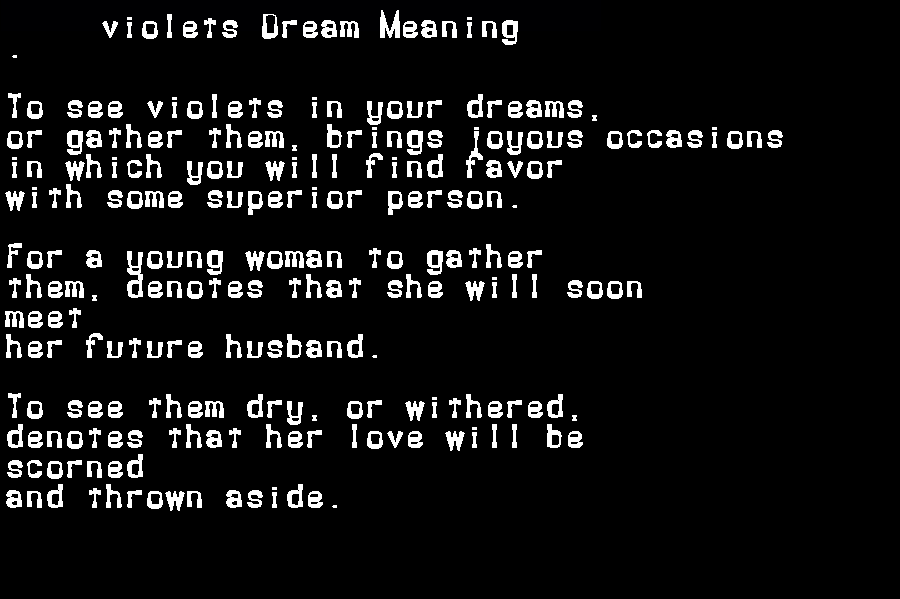 dream meanings violets