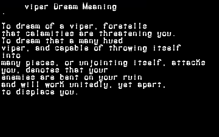 dream meanings viper