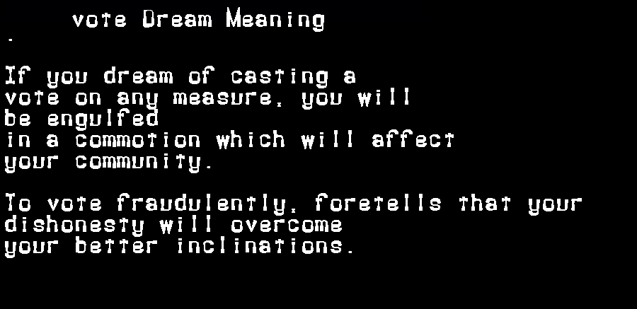 dream meanings vote