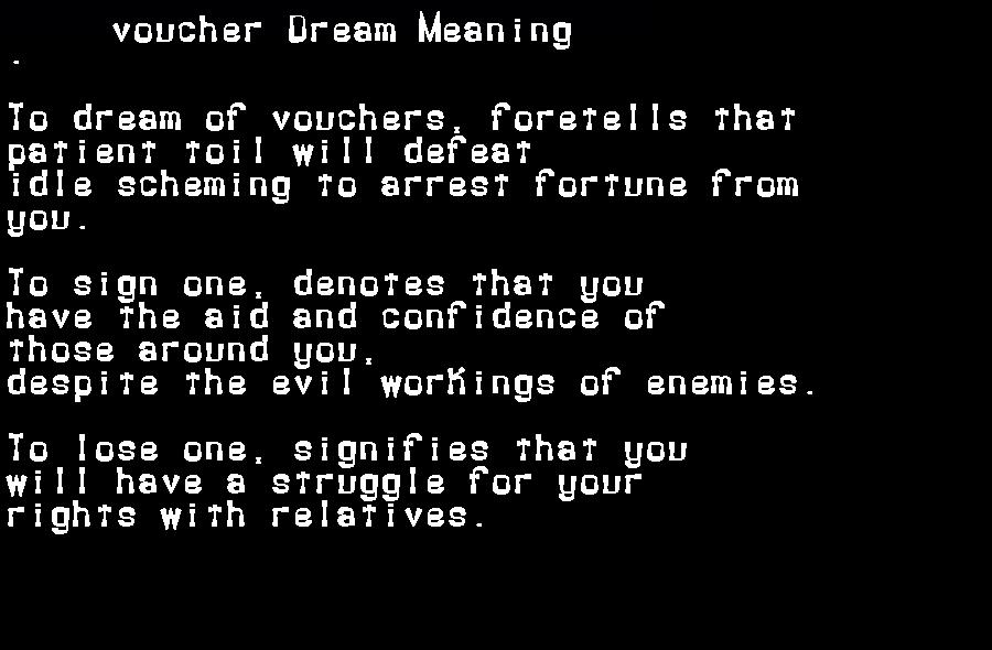 dream meanings voucher