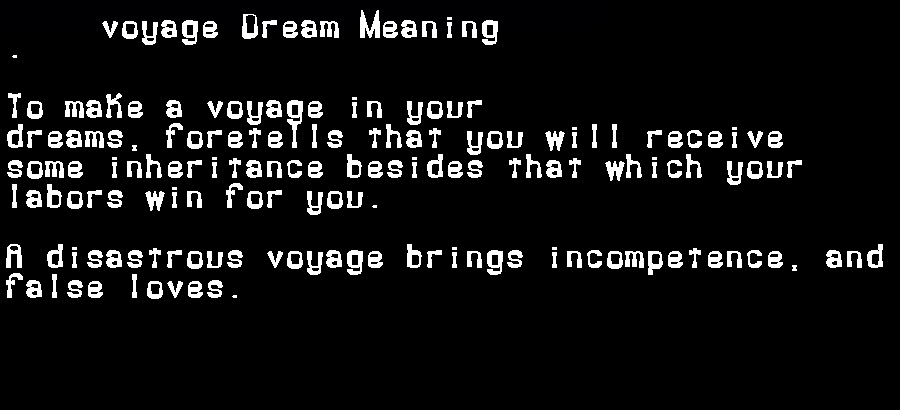 dream meanings voyage