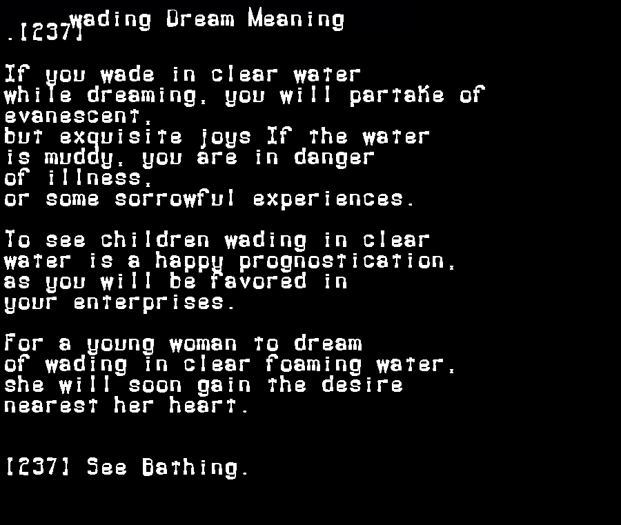 dream meanings wading