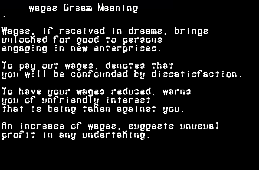 dream meanings wages