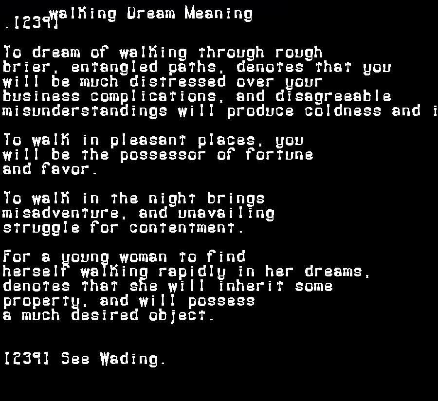 dream meanings walking
