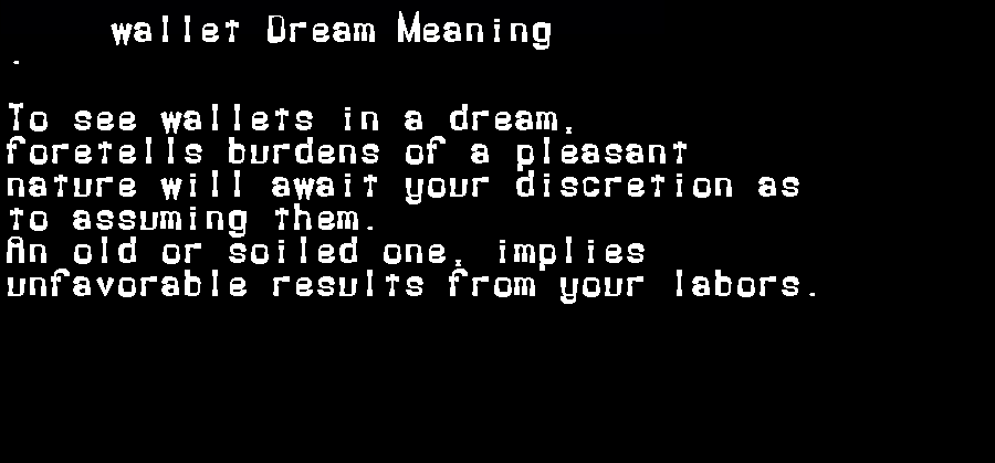 dream meanings wallet
