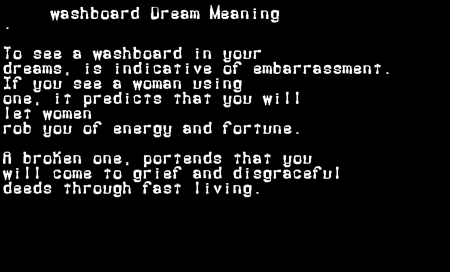 dream meanings washboard
