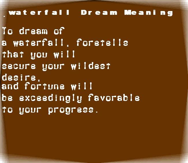 dream meanings waterfall