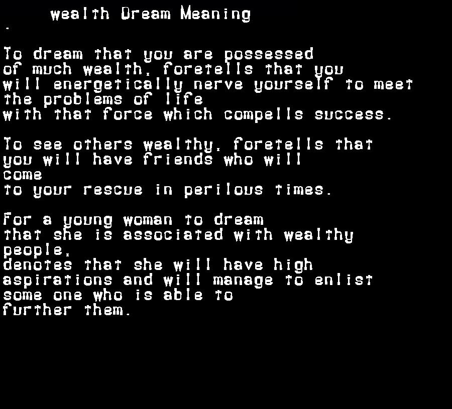 dream meanings wealth
