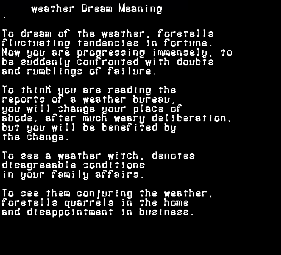 dream meanings weather