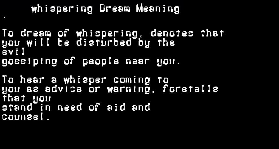 dream meanings whispering