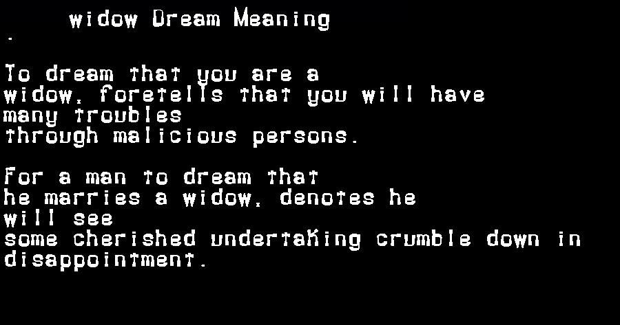 dream meanings widow
