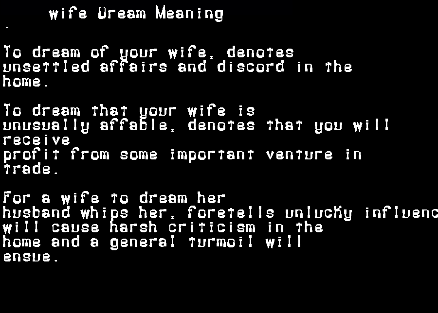 dream meanings wife