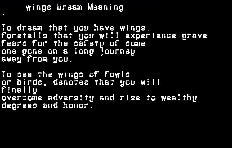 dream meanings wings