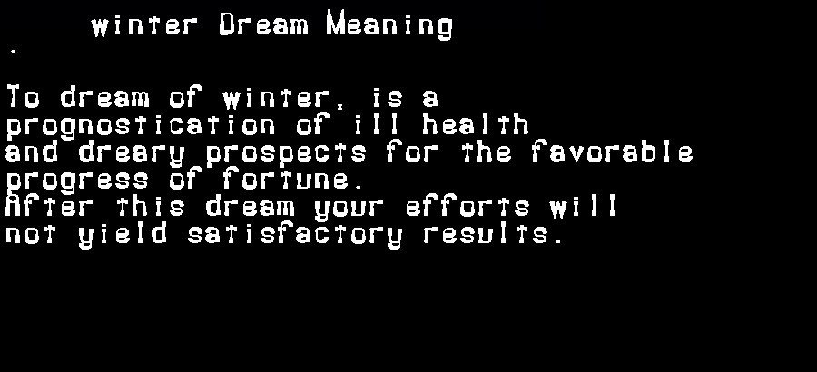 dream meanings winter
