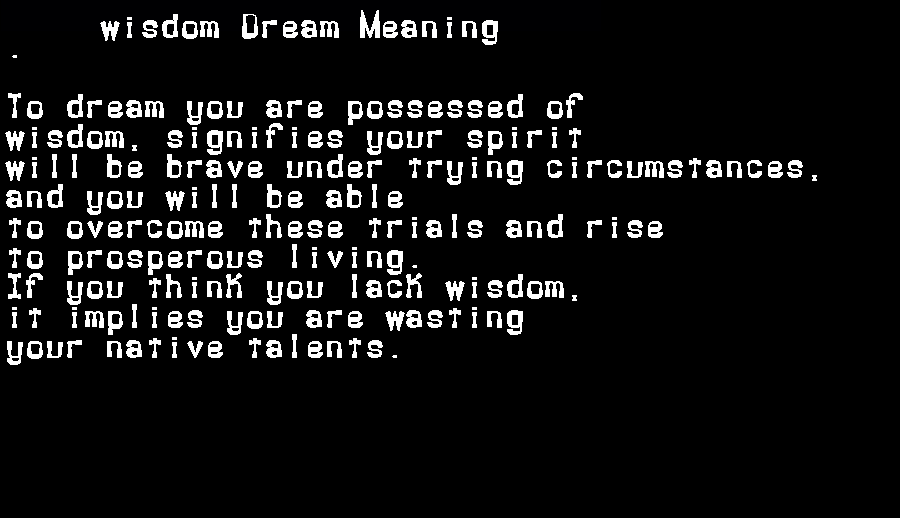dream meanings wisdom