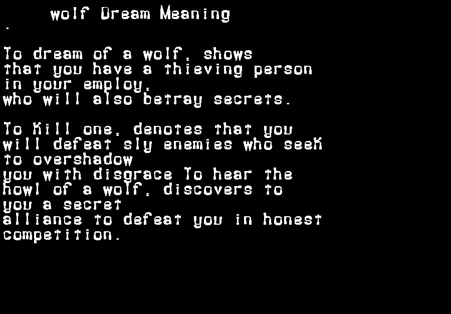 dream meanings wolf