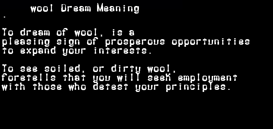 dream meanings wool