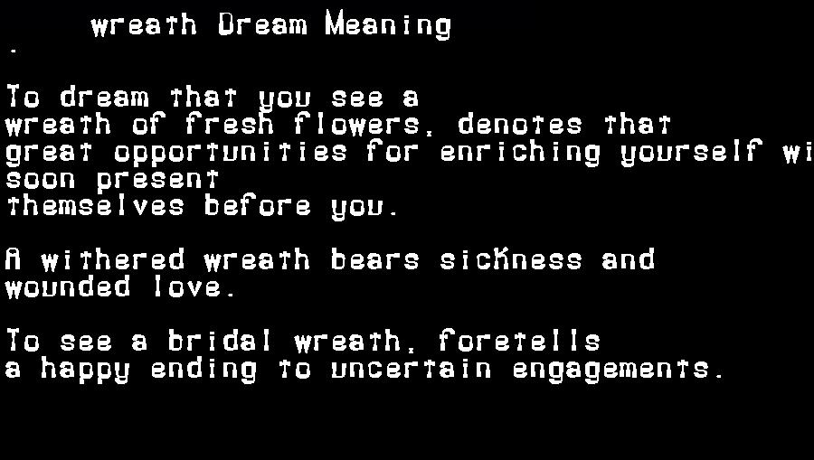 dream meanings wreath