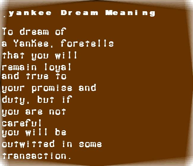 dream meanings yankee