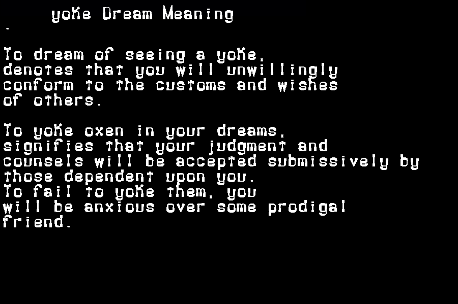 dream meanings yoke