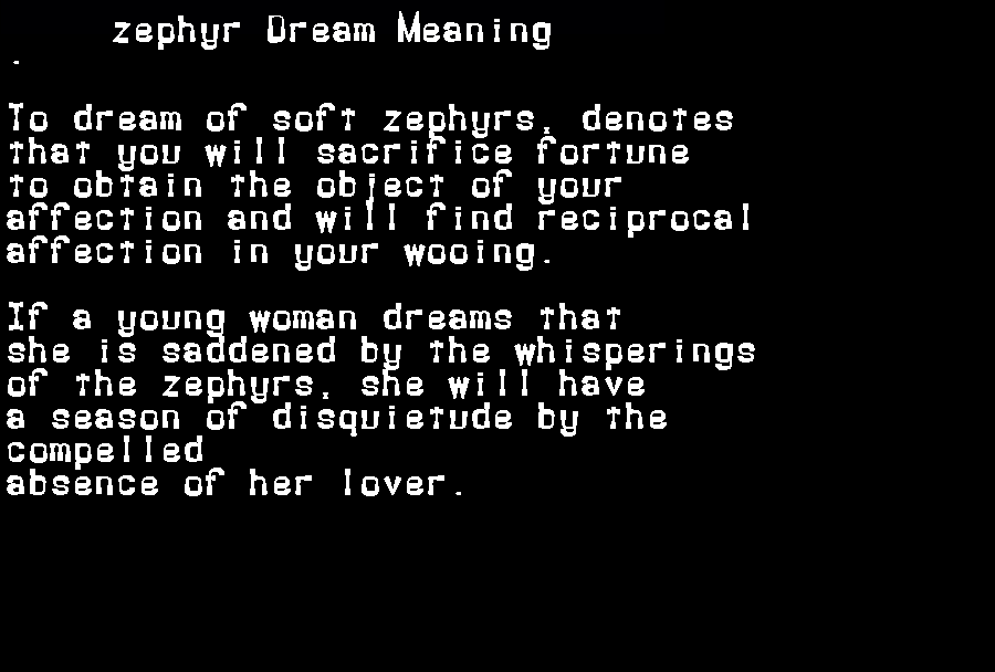 dream meanings zephyr
